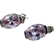 Purple Earrings, Faux Alexandrite, Sterling Silver, Vintage Earrings, Color Changing, Blue, Big, Large, Vintage Jewelry
