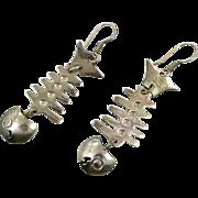 Fish Earrings, Sterling Silver, Vintage Earrings, Taxco, Mexico, Fish Bones, Beach Earrings, Vintage Jewelry, Unique, Unusual, Odd, Pierced