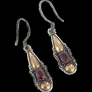 Garnet Earrings, Sterling Silver, Vintage Earrings, Mixed Metal, Pierced, Boho, Dangle Earrings, 925, Gemstone Jewelry, Red Stones