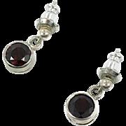 Garnet Earrings, Sterling Silver, Vintage Earrings, Dangles, Pierced Earrings, Posts, Sterling Earrings, Red Gemstone