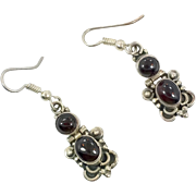 Garnet Earrings, Black Onyx Earrings, Sterling Silver, Vintage Earrings, Dangle, Pierced, Red, Black, Stones, Boho, Bohemian