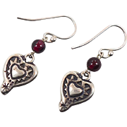 Heart Earrings, Garnet Earrings, Sterling Silver, Vintage Earrings, Dangles, Sterling Earrings, Silver Hearts, Red Gemstone