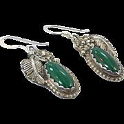 Green Malachite, Sterling Silver, Vintage Earrings, Navajo, Native American, Pierced, Dangle, Feather, Flower, Boho, Southwestern