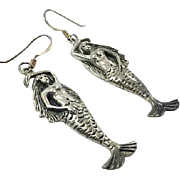 Mermaid Earrings, Sterling Silver, Vintage Earrings, Pierced Dangle, Beach Earrings, Vacation Jewelry, Cruise, Vintage Jewelry, Surfer