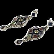 Gemstone Earrings, Amethyst, Peridot, Garnet, Citrine, Sterling Silver, Multi Stone, Iolite, Vintage, Pierced, Dangles, Purple, Red, Boho