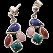 Stone Earrings, Sterling Silver, Lapis, Rose Quartz, Chrysocolla, Carnelian, Vintage, Pierced, Dangle, Multi Stone, Blue, Green, Pink, Posts