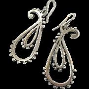 Boho Earrings, Sterling Silver, Vintage Earrings, Big Statement, Artisan, Studio, Pierced, Massive, Oversized, Huge, Dangle, Bohemian