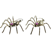 Spider Earrings, Purple Stone, Sterling Silver, Native American, Vintage, Gothic, Creepy, Insect, Bug, Unique, Odd, Unusual, Pierced