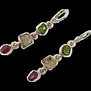 Tourmaline Earrings,Sterling Silver, Pierced Earrings, Green, Pink, Yellow, Artisan, Handcrafted, Dangle, Drop, Gemstones, Unique, Unusual