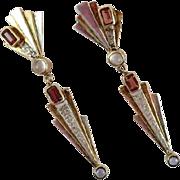 Tourmaline Earrings, Sterling Earrings, Vintage Earrings, Art Deco Style, Unique, Mixed Metal, Dangle, Handcrafted, Pierced, Artisan