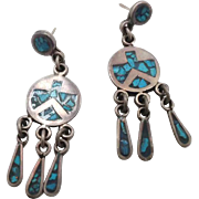 Turquoise Earrings, Sterling Silver, Mexico, Inlaid Inlay, Dangle Pierced, Vintage Earrings, Boho Bohemian, Southwestern Jewelry, Patina
