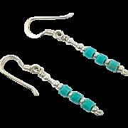 Turquoise Earrings, Sterling Silver, Pierced Earrings, Dangle, Lightweight, Boho, Vintage Earrings, Sterling Turquoise