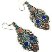 Turquoise Earrings, Tibet Jewelry, Coral, Lapis, Vintage Earrings, Nepal, Tibetan Silver, Big, Boho Statement, Ethnic, Tribal, Pierced