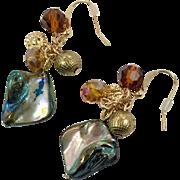 Shell Earrings, Abalone, Vintage Earring, Pierced, Gold Metal, Beaded, Beach Jewelry, Faceted Beads, Mermaid Jewelry, Dangle, Boho