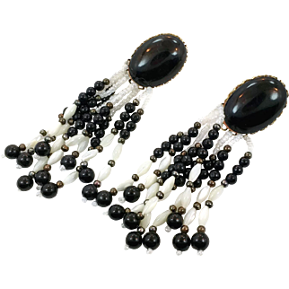 White Black Earrings, Black Onyx, Beaded Fringe, Vintage Earrings, Massive, Southwest, Oversized, 1980s, Long, Bohemian,Pierced, Large Big