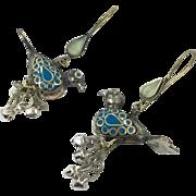 Bird Earrings, Blue Birds, Kuchi, Turkoman, Mixed Metals, Long, Big, Vintage Earrings, Boho, Bohemian, Pierced Dangle