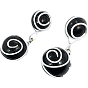 "Black White Earrings, Mod, 3 1/2"" Long, Vintage Earrings, Big Balls, Massive, 1980s, Pierced, Dangles, Retro, Unique, Funky, Statement"