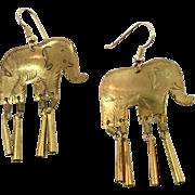 Elephant Earrings, Brass Earrings, Pierced Earrings, Vintage Jewelry, Dangles, Pierced, Large, Massive, Lightweight, Boho Statement, NOS