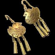 Bird Earrings, Etched Brass, Vintage Jewelry, Duck, Dangles, Brass Earrings, Pierced, Large, Long, Massive, Lightweight, Boho Statement, Big