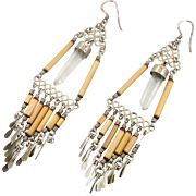 Crystal Point Earrings, Vintage Earrings, Peruvian Peru, Pierced Earrings, Quartz Crystal, Long Dangles, Boho Statement, Gypsy, New Age
