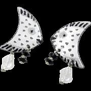 Fish Earring, Enameled Earring, Vintage Earrings, Black White, Big, Large, Statement, Handcrafted, Studio, 1980s, Abstract, Modern, Huge