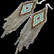 "Fringed Earrings, Massive, Southwestern, Vintage Earrings, Turquoise, Silver Chains, 6 1/2"" Long, Boho, Long, Pierced, Large Big, Huge"