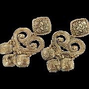 Bohemian Earrings, Statement, Massive, Gold, Vintage Earrings, Gypsy Earrings, Oversized, Pierced, Ethnic Tribal, Long Dangle, 1980s, Big