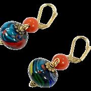 Millefiori Earrings, Glass Beaded, Pierced, Dangle Earrings, Venetian Beads, Cobalt Blue, Red, Vintage Earrings, Murano, Gold Metal, Flowers