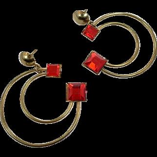 Red Earrings, Statement, Vintage Earrings, Gold, 1980s, Crescent Moon, Big Large, Pierced, 80s, Modern Mod, Oversized, Massive, Huge