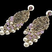 Boho Earrings, Vintage Earrings, Gold, Purple, Pearl, Massive, Long Dangles, Pierced Posts, Gypsy Jewelry, Bohemian, Flower, Big Statement