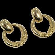 Ram Earrings, Big Hoop Earrings, Gold Earrings, 1980s, Aries, Door Knocker, 80s, Pierced Posts, Ram's Heads, Big, Massive, Oversized