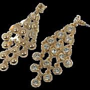 "Massive Earrings, Exotic, Gold, Pierced, Dangles, Rhinestone, Pierced Earrings, 4"" Long, Vintage Jewelry, Statement, Evening, Big Large"