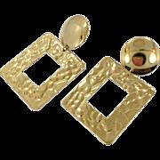 Gold Earrings, Geometric, 1980s, 80s, Pierced, Dangle Earrings, Big Statement, Vintage Earrings, Door Knocker Size, Huge, Oversized, Retro