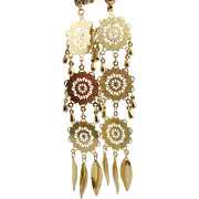 """Gold Earring, Dangle,4 1/2"""" Long, Pierced Earrings, Vintage Earrings, Filagree, Lightweight, Boho Jewelry, Statement, Festival Earrings, Big"""