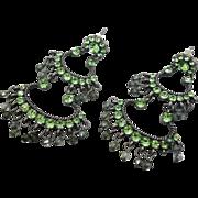 Green Beaded Earrings, Long Dangle, Vintage Earrings, Green Rhinestones, Pierced, Boho Bohemian, Big Statement, Evening, Vintage Jewelry