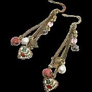 Heart Earrings, Cloisonne Earrings, Long Dangles, Pierced, Vintage Earrings, Chains, Charms, Pink, Pearl, Leaves, Boho, Big Statement
