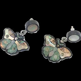 Butterfly Earrings, Shell Earrings, Mother of Pearl, Vintage Earring, Lee Sands, Black, Dangle, Pierced, MOP, Bohemian