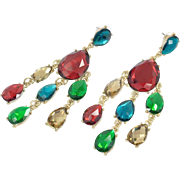 Rainbow Earrings, Jewel Tones, Rhinestone, Long Dangle, Vintage Earrings, Gold, Red, Green, Blue, Pierced, 1980s, Big, Large, Huge, Acrylic