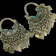Big Hoop Earrings, Gypsy Boho, Vintage Earrings, Kuchi Earrings, Blue Turquoise, Silver Mixed Metal, Ethnic Jewelry, Tribal Afghan, Hippie