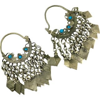 Big Hoop Earrings, Gypsy Boho, Vintage Earrings, Kuchi Earrings, Blue Turquoise, Silver Mixed Metal, Ethnic Jewelry, Tribal Afghan, Hippie