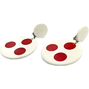 Lucite Earrings, Vintage Earrings, Statement Earrings, White, Red, Polka Dot, Clips, Door Knockers, Large, Big, 1980s, 80s, Huge, Retro