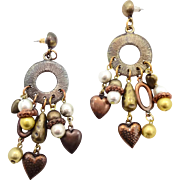 Vintage Earrings, Boho Jewelry, Earrings, Mixed Metal, Big Earrings, Statement Jewelry, Heart Charms, Gypsy Earrings, Hippie Ethnic, Tribal