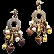 Vintage Earrings, Boho Jewelry, Earrings, Mixed Metal, Big Earrings, Statement Jewelry, Heart Charms, Gypsy Earrings, Hippie Ethnic, Tribal