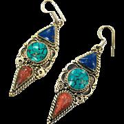 Turquoise Earrings, Tibetan, Nepal, Coral Lapis, Vintage Earrings, Inlaid Inlay, Tibet Silver, Boho Statement, Bohemian, Ethnic, Tribal, Big