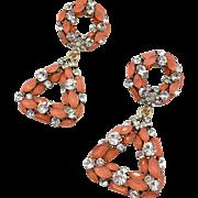 """Orange Earrings, Rhinestone, Gold Earrings, Peach, 2"""" Long, Dangles, Pierced, Vintage Earrings, Unique, Unusual, Acrylic Jewels, Evening"""