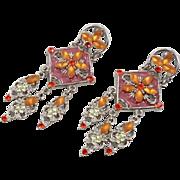 Orange Pink Earrings, Long Dangles, Silver, Pierced Posts, Vintage Earrings, Boho Jewelry, Rhinestone, Enamel, Bohemian, Big Statement