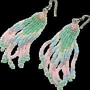 """Pastel Earrings, Pink, Mint Green, Beaded, Vintage Earrings, Boho Gypsy, 4"""" Long, Bohemian, Hippie Festival, Pierced, Large Big, Fringed"""