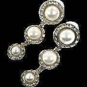 """Pearl Earrings, Rhinestone Earrings, 2 1/2"""" Long, Vintage Earrings, 1980s, 80s, Dangle Earrings, Pierced, Statement, Large, Big, Evening"""