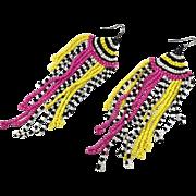 Fringed Earrings, Hot Pink, Black, White, Yellow, Seed Beaded, Vintage Earrings, Boho Gypsy, Woven, Long, Festival, Pierced, Large Big