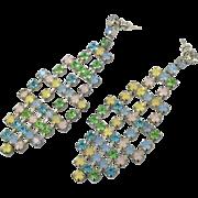 "Big Earrings, Vintage Earrings, Oversized, Rhinestone, 3"", Pink, Blue, Green, Yellow, 80s, Dangles, Vintage Jewelry, Pierced Posts, Massive"